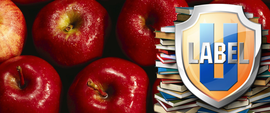 Label University Banner with apples and shield