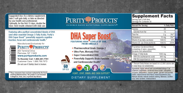 Purity Products DHA Super Boost Label