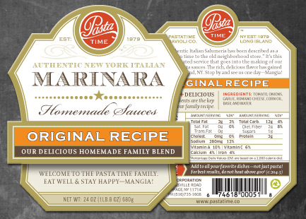 Pasta Time Marinara Label