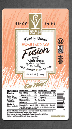 Goose Valley Brown Rice Label