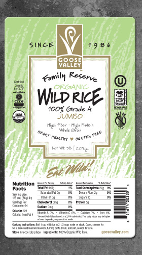 Goose Valley Wild Rice Label